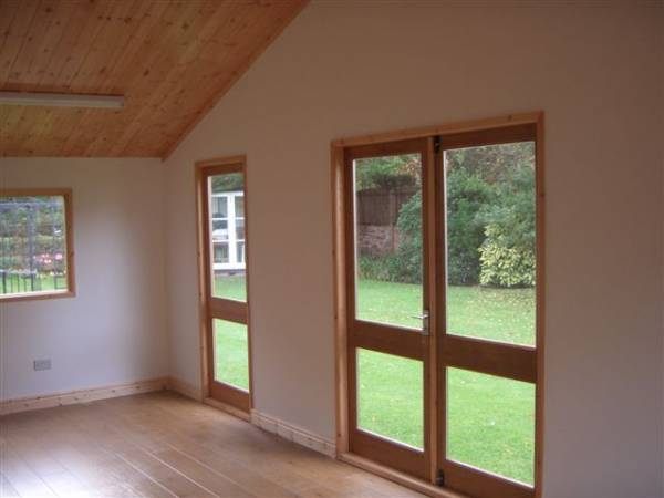 Interior of garden office made by west lancs sheds for Garden office interiors