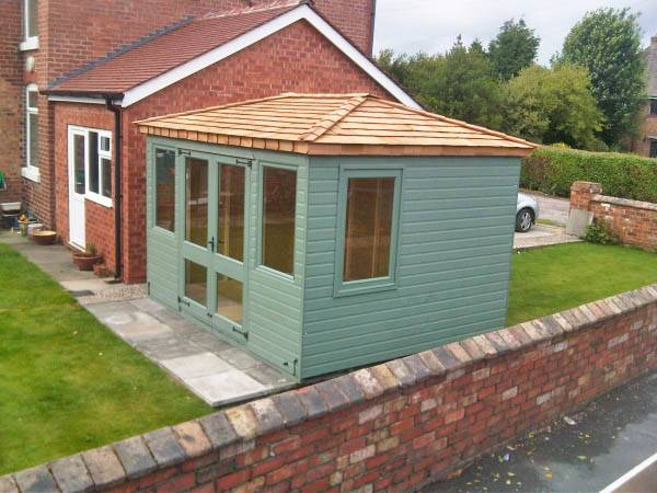 Summerhouse with cedar shingle roof made by west lancs sheds for Cedar shingle shed